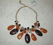 Native Stone Necklace Muted Gold Link Bib Style Adjust