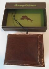 TOMMY BAHAMA TAN LEATHER CREDIT CARD CASH WALLET NEW IN GIFT BOX