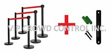"Retractable Stanchion, 6 Posts, 36"" Ht Blk, 78"" Red Belt, Wall Bracket"