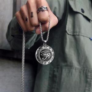 Egyptian Pharaoh Eye of Horus Ra Pendant Necklace Stainless Steel Jewelry