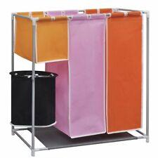 vidaXL Organizador de tres secciones para ropa sucia con cubo de lavado incluido