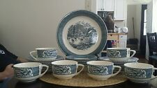 Vintage Currier & Ives Harvest china by Royal white and blue 25 pc