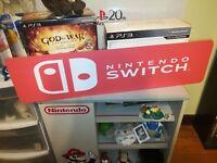 "Nintendo Switch Display, Switch Aluminum Sign, 6""x24""."