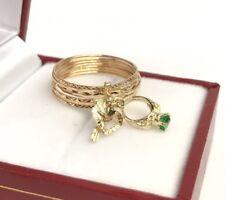18k Solid Yellow Gold 7 Pcs Set Charming Ring, Diamond Cut. Sz 7.25