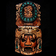 Mayan Maya Mask Head Aztec Maya Mexico Wall Plaque Pottery Art Sun Calendar