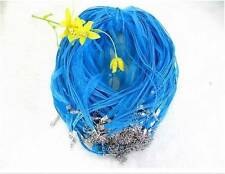 Wholesale 50pcs LIGHT BLUE CYAN RIBBON VOILE CORD NECKLACES