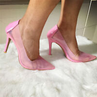 Womens Slip On Transparent Pointed Toe Pumps Slim High Heels Party Clear Shoes