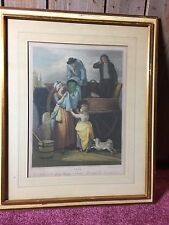Antique Stipple Engraving Cries of London Fresh Gathered Peas Plate 7 Wheatley