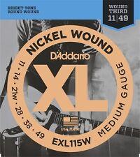 D'Addario EXL115W . Nickel Blues-Jazz Rock Strings, Wound 3rd, 11-49 Gauge