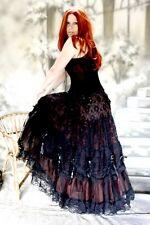 Onda Gótica Victoriano Falda De Tul Elvira negro w- rojo burdeos 36 38 40 42