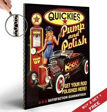 QUICKIES PUMP & POLISH POSTER Pin Up Girl Vintage Sign Design 30X21cm Print Deco