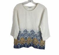 Pure Jill By J Jill Boho Cotton Gauzy Crew Neck 3/4 Sleeve Shirt Womens Small S