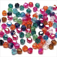 Lot Mixte 100 perles Toupies 4mm en Crystal