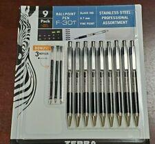 Zebra F-301 Ball Point Pen Black Ink Fine 0.7mm Stainless Steel 9 pen + 3 refill