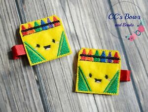 Crayon Box Felt Hair Clips - Set of Two - Hair Bows for Girls Toddlers Baby