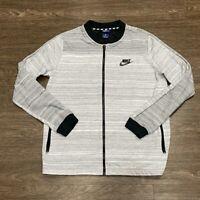 Nike Mens Activewear Jacket Gray Striped Full-Zip Pockets Mesh Long Sleeve L