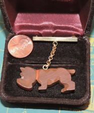 Vintage Carved Wood Bulldog Dog on Chain Leash  Brooch Marines  Pin 3a 25
