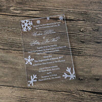 Personalised Laser cut Snowflake Day Evening Acrylic Wedding Invitations