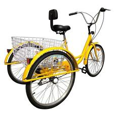 "24"" Adult Tricycle 3-Wheel 6 Speed Bicycle Trike Bike Backrest Cruiser Basket"