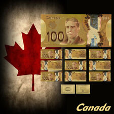 WR Gold Foil Colorful Canadian 10pcs Banknotes Souvenir Collection Gifts