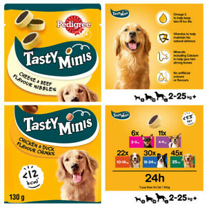 Pedigree Tasty Minis Bites Puppy Beef Cheesy Chicken Nibbles Chewy Cubes Treats