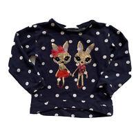 H&M Girls 4-6 Y Regular Youth Sweatshirt Top Reindeer's Polka Dots Navy Blue