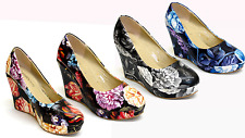 """Womens Ladies 4"""" Wedge High Heel Platforms Floral Pumps Party Shoes Size UK 4-8"""