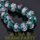 10pcs 10mm Flowers Faceted Rondelle Lampwork Glass Loose Beads Peacock Green New