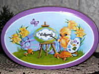 VINTAGE EASTER TIN BOX EASTER DUCK AND EGGS IN A BASKET WOLFGANG'S
