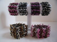 New Lovely Beaded Cuff Stretch Bracelets - Choice of Colours - Black Silver Pink