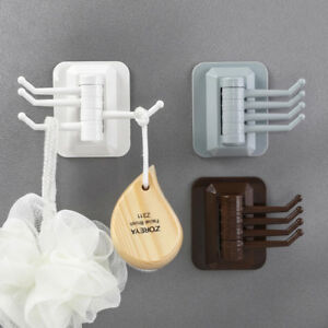 Rotary 4-hook Kitchen Bathroom Wall Rack Towel Rack Without Screw And Trackless