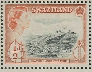 SWAZILAND 1956 SG53 ½d. HAVELOCK ASBESTOS MINE  -  MNH