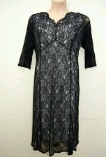 BNWT M&S Classic Black Floral Lace Fit & Flare Dress in Size UK 16