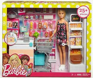"""Barbie Supermarket Playset 12"""" Doll With 25 Pieces"""