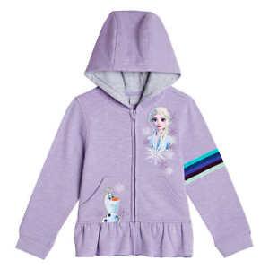 DISNEY FROZEN 2 ELSA & OLAF Zip-Up Sweatshirt Hoodie Girls Sizes 5, 6 or 7  $32