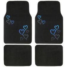 New 4pc Set Love Blue Hearts Car Truck Front Rear / Back Carpet Floor Mats