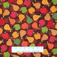 Fall Festival Fabric - Apple & Pear Toss Brown - Benartex Kanvas Studio YARD