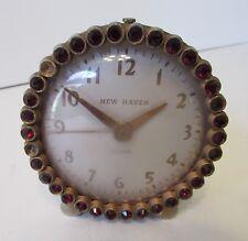 Vintage 1940's New Haven Alarm Clock, Rhinestone Clock, Working