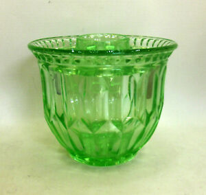 Beautiful Green Depressions Glass Vase with 8 Hole Flower Frog.
