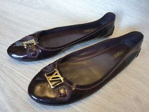 Auth Louis Vuitton Ballerina Flats Oxford Patent Leather Gold Logo Sz US 10