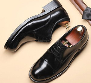 Brogue Mens Real Leather Business Shoes Work Oxfords Lace up Wedding Formal
