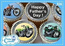 HAPPY FATHERS DAY MOTOR BIKES EDIBLE CUPCAKE TOPPERS DECORATIONS CAKE 9580F