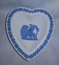 Wedgwood Jasperware Blue Bas Relief on White Heart Trinket Dish