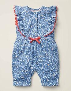 Ex Mini Baby Boden Jumpsuit Romper Floral Bird New Girls Ruffle Pom 0-3m-18-24m