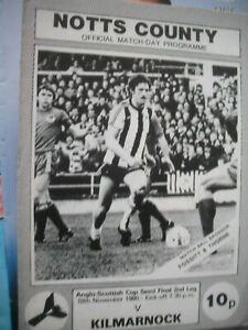 NOTTS COUNTY v KILMARNOCK 18.11.1980 Anglo-Scottish Cup Semi-Final 2nd Leg