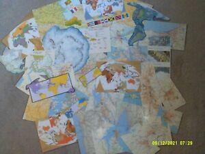 (9*13F)vintage EPHEMERA paper CRAFTING lot-SCRAPBOOKING art collage MAP CLIPS