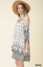 Women's Kori America Umgee Off Cold Shoulder Boho  Print Dress White S Small