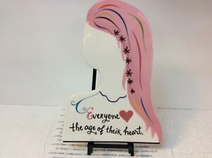 """""""EVERYONE IS THE AGE OF THEIR HEART"""" HALLMARK NEW CERAMIC PLAQUE WITH HOLDER"""