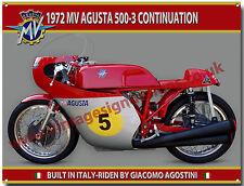 1972 Mv Agusta 500-3 Continuation Motorrad Metall Schild. Giacomo Agostini
