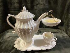 Yankee Candle Tea Party Teapot Hanging Tart Warmer Burner Retired White Victoria